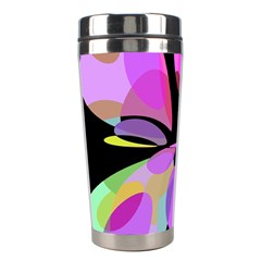 Pink Abstract Flower Stainless Steel Travel Tumblers by Valentinaart