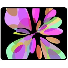 Pink Abstract Flower Double Sided Fleece Blanket (medium)  by Valentinaart