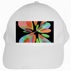 Colorful Abstract Flower White Cap by Valentinaart