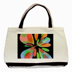 Colorful Abstract Flower Basic Tote Bag by Valentinaart