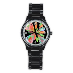 Colorful Abstract Flower Stainless Steel Round Watch by Valentinaart