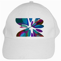 Blue Abstract Flower White Cap by Valentinaart