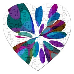 Blue Abstract Flower Jigsaw Puzzle (heart) by Valentinaart