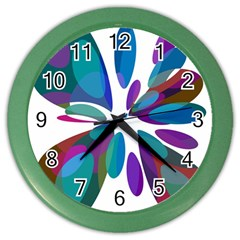 Blue Abstract Flower Color Wall Clocks by Valentinaart