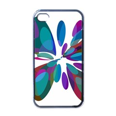 Blue Abstract Flower Apple Iphone 4 Case (black) by Valentinaart
