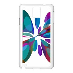 Blue Abstract Flower Samsung Galaxy Note 3 N9005 Case (white) by Valentinaart