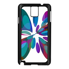 Blue Abstract Flower Samsung Galaxy Note 3 N9005 Case (black) by Valentinaart