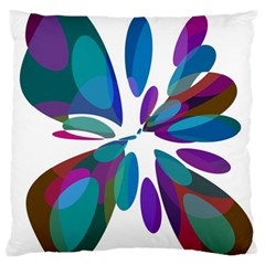 Blue Abstract Flower Standard Flano Cushion Case (one Side) by Valentinaart