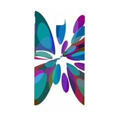 Blue Abstract Flower Samsung Galaxy Alpha Hardshell Back Case by Valentinaart