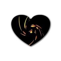 Orange Twist Rubber Coaster (heart)  by Valentinaart