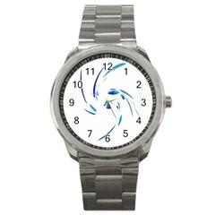 Blue Twist Sport Metal Watch by Valentinaart