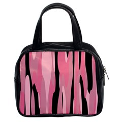 Black And Pink Camo Abstract Classic Handbags (2 Sides)