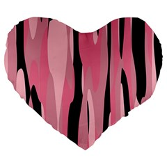 Black and pink camo abstract Large 19  Premium Heart Shape Cushions by TRENDYcouture
