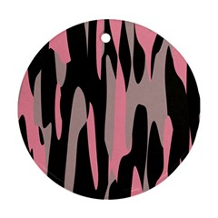 pink and black camouflage abstract 2 Round Ornament (Two Sides)  by TRENDYcouture