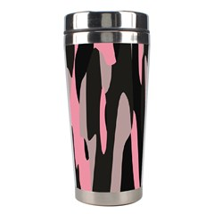 Pink And Black Camouflage Abstract 2 Stainless Steel Travel Tumblers by TRENDYcouture