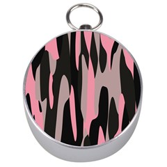 Pink And Black Camouflage Abstract 2 Silver Compasses by TRENDYcouture