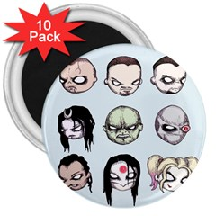 Worst Heroes Ever 3  Magnets (10 Pack)  by lvbart