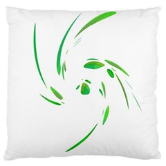 Green Twist Large Cushion Case (one Side) by Valentinaart