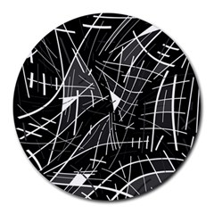 Gray Abstraction Round Mousepads by Valentinaart