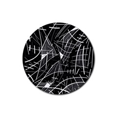 Gray Abstraction Rubber Coaster (round)  by Valentinaart