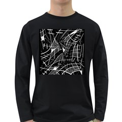 Gray Abstraction Long Sleeve Dark T Shirts by Valentinaart