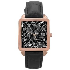Gray Abstraction Rose Gold Leather Watch  by Valentinaart