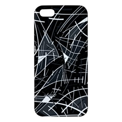 Gray Abstraction Apple Iphone 5 Premium Hardshell Case by Valentinaart