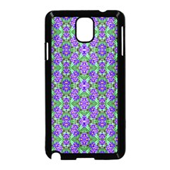Pretty Purple Flowers Pattern Samsung Galaxy Note 3 Neo Hardshell Case (black) by BrightVibesDesign