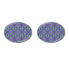 Pretty Purple Flowers Pattern Cufflinks (Oval) by BrightVibesDesign