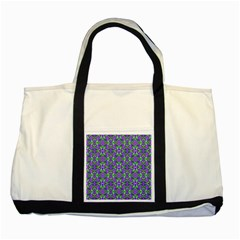 Pretty Purple Flowers Pattern Two Tone Tote Bag by BrightVibesDesign