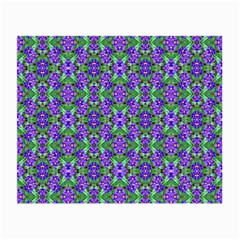 Pretty Purple Flowers Pattern Small Glasses Cloth (2-Side) by BrightVibesDesign