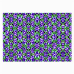 Pretty Purple Flowers Pattern Large Glasses Cloth (2-Side) by BrightVibesDesign