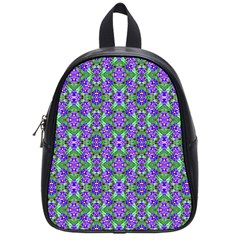 Pretty Purple Flowers Pattern School Bags (small)  by BrightVibesDesign