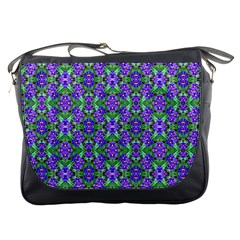 Pretty Purple Flowers Pattern Messenger Bags by BrightVibesDesign