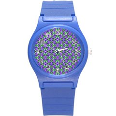 Pretty Purple Flowers Pattern Round Plastic Sport Watch (s) by BrightVibesDesign