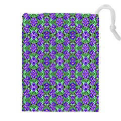 Pretty Purple Flowers Pattern Drawstring Pouches (xxl) by BrightVibesDesign
