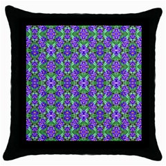 Pretty Purple Flowers Pattern Throw Pillow Case (black) by BrightVibesDesign