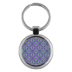 Pretty Purple Flowers Pattern Key Chains (Round)  by BrightVibesDesign