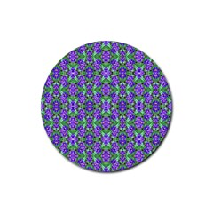 Pretty Purple Flowers Pattern Rubber Round Coaster (4 pack)  by BrightVibesDesign