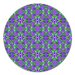 Pretty Purple Flowers Pattern Magnet 5  (round) by BrightVibesDesign