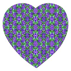 Pretty Purple Flowers Pattern Jigsaw Puzzle (heart) by BrightVibesDesign