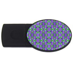 Pretty Purple Flowers Pattern Usb Flash Drive Oval (4 Gb)  by BrightVibesDesign