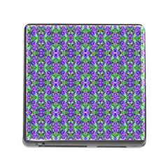 Pretty Purple Flowers Pattern Memory Card Reader (Square) by BrightVibesDesign