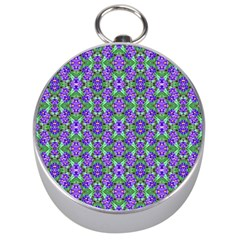 Pretty Purple Flowers Pattern Silver Compasses by BrightVibesDesign