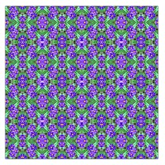 Pretty Purple Flowers Pattern Large Satin Scarf (square) by BrightVibesDesign
