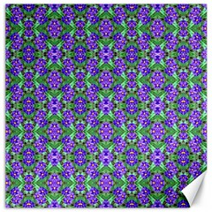 Pretty Purple Flowers Pattern Canvas 12  X 12   by BrightVibesDesign