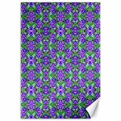 Pretty Purple Flowers Pattern Canvas 12  X 18   by BrightVibesDesign