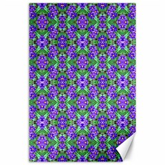 Pretty Purple Flowers Pattern Canvas 24  X 36  by BrightVibesDesign