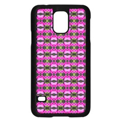 Pretty Pink Flower Pattern Samsung Galaxy S5 Case (black) by BrightVibesDesign