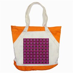Pretty Pink Flower Pattern Accent Tote Bag by BrightVibesDesign